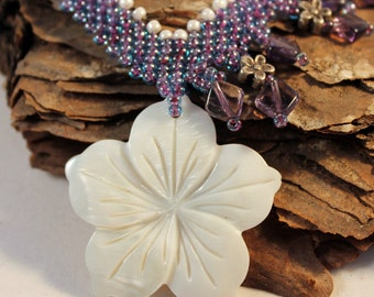 Asymmetrical purple and white beaded necklace with carved mother of pearl flower, nature inspired, flower necklace, elegant gift for her, NL