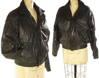 80s Sherpa Lined Leather Bomber Jacket / Vintage 1980s Distressed Slouchy Black SOFT Glove Leather Motorcycle Jacket / Men or Women