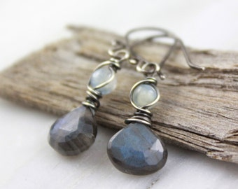 Kyanite and Labradorite Small Wrapped Silver Earrings