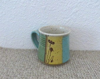 Mug Cup - Handmade Stoneware Pottery Ceramic - Blue Celadon, Green Celadon, Sun Yellow, White - Poppy - 14 ounce