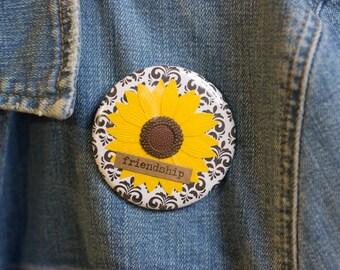 """Cheapie button! """"Friendship"""" 2.25"""" Button With Sunflower!"""