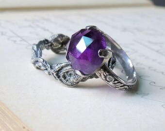 Sale Large Amethyst Rose Cut Cocktail Ring Statement Ring in Sterling Silver