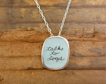 Talks to Dogs Necklace - Sterling Silver and Vitreous Enamel Dog Pendant