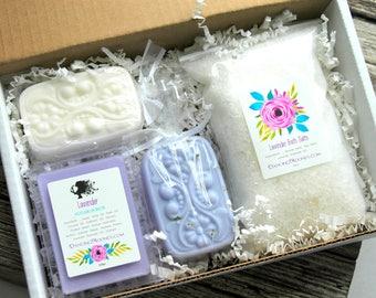 Bridesmaid Gift Box . Lavender Coconut Milk Bath Gift Set . Best Friend Birthday Gift . Bridesmaid Box Set . Gift for Women Spa Gift Box