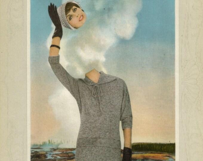Weird Artwork, Old Faithful Geyser, Yellowstone Art Collage