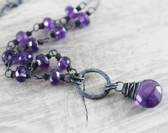 Purple Amethyst Necklace, Black and Purple Necklace, Sterling Silver Necklace, Amethyst Gemstone Necklace, February Birthstone Necklace