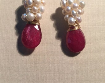 Ruby and Pearl gold hook dangle earrings