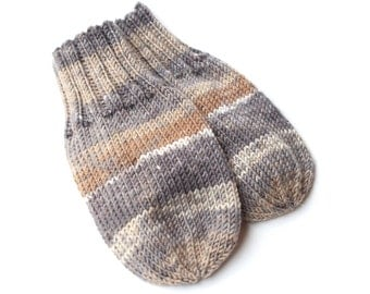 Wool-Free Tan and Gray Baby Mittens on Cord. Hand Knit Thumbless Cordless Baby Mitts. Winter Mittens. Infant 9 to 12 Months Hand Warmers