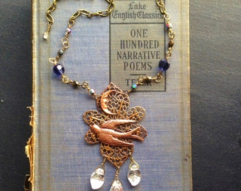 Night Bird Necklace - Bird and moon pendant