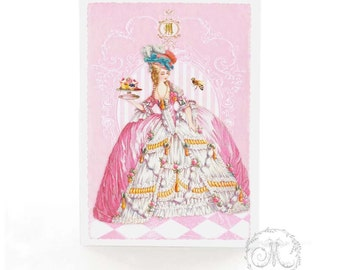 Marie Antoinette card, pink cake, French, birthday card, high tea, all occasion card