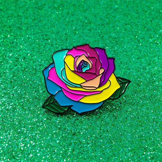 Rainbow rose enamel pin for How much are rainbow roses