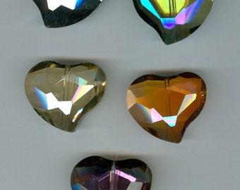 Set 5 28x24mm Crystal AB Blue Purple Gold Glass Heart Beads 1127B