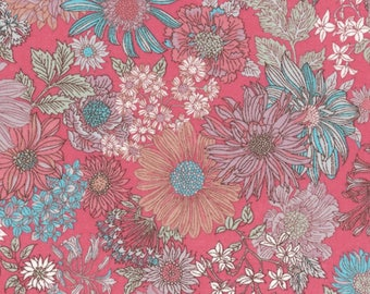 HALF YARD Lecien - Memoire a Paris 2017 - Floral on RASPBERRY 40738-20 - Cotton Lawn - Flowers - Japanese Import