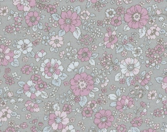 HALF YARD Lecien - Memoire a Paris 2017 - Floral on GREY 40740-90 - Cotton Lawn - Flowers - Japanese Import