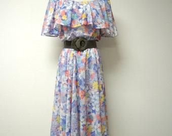 PK's Kloset . 70s sheer floral sundress . full skirt dress . fits like a medium to large