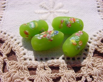 Matte Lime Green Millefiori Vintage Japanese Glass Beads