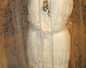 Romantic BOHEMIAN Creme Lace and Spring Floral Princess Dress Ooak