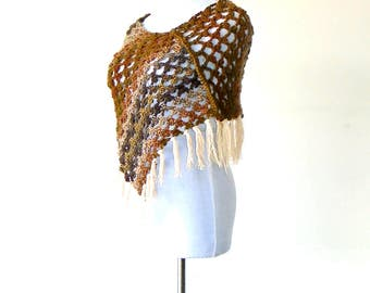 Crocheted Rosettes Summer Fringed Poncho / Wrap in Mountainscape Palette ~ capelet shawl gypsy boho chic cape handmade clothing wearable art