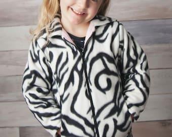 Reversible Fleece Hoody Jacket - Hood or Collar - Boys Girls 2 to 12 years