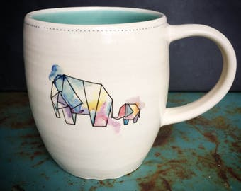 Elephant mug -geometric watercolor - READY TO SHIP
