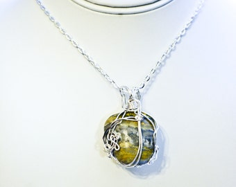 Eclipse stone wire wrapped necklace, Bumblebee Jasper from the volcanoes of Indonesia wrapped in silver toned wire yellow gemstone jewelry