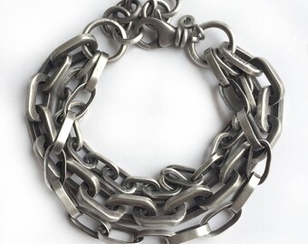 Sterling Silver Triple Vintage Chain Multi Chain Oblong Cable Bracelet Recycled Silver Heavy Adjustable One of a Kind Swivel Clasp Heavy