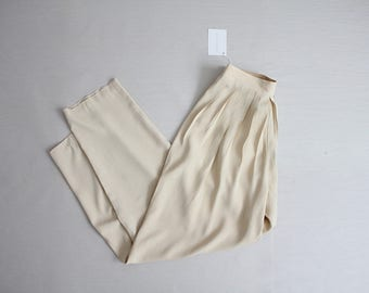 beige nude trousers | high waist trousers | pleated pants