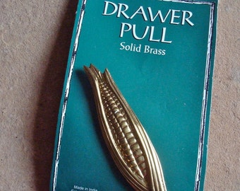 Solid Brass Cabinet Drawer Handle Pull Corn Cob Ear Country Kitsch Style