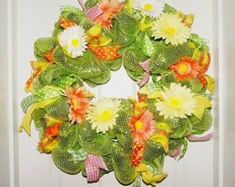 REDUCED Summer wreath lime orange wreath deco mesh wreath gerber daisy wreath green yellow wreath