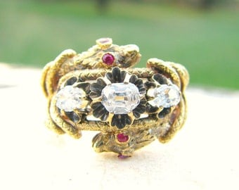 Antique Double Snake Diamond Ruby Ring, Cushion Cut Diamonds, appr .75 ctw, Large & Striking, 14K, Silver, Victorian Mens or Womans Ring