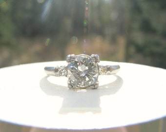Diamond Engagement Ring, approx .83 ctw, Fiery VS1 Diamond in Platinum, Classic Elegant Design, Mid Century, 1940s - 1950s, with Appraisal