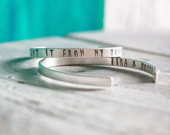 Personalized Cuff Bracelet Mother + Daughter Set  {Hand Stamped Sterling Silver}