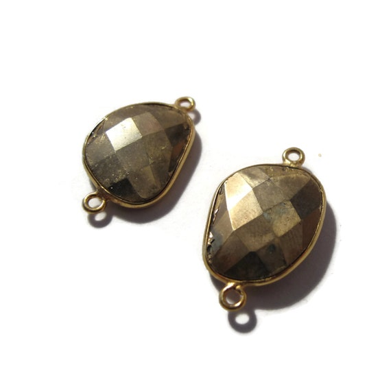 Two Matching Pyrite Charms, Irregular Fool's Gold Pendant with Gold Plated Bezel, Faceted Double Sided Gemstone (C-Py3a)