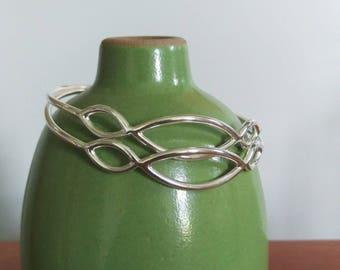 Handmade Sterling Silver Bangle Bracelet - modern bracelet, geometric bracelet