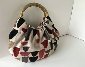 Small Geometric Hobo Purse - Handmade Handbag Made from Falling Arches Upholstery with Gold Bamboo Handles