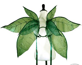 Daphnea No. 33 - Large Glitter Fairy Wings in Green Sparkle and Silver - Convertible Strapless