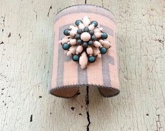Grain Sack Adjustable Cuff with Pristine Vintage Baubles