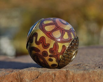 Rustic Writings -  Cored 'n Capped K O Lampwork Big Hole European Style Charm Bead