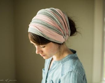 Soft Heather & Pink Stripe Cowl Headwrap - Garlands of Grace headband scarf convertible headcovering