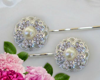 Wedding Hair Pins,  Bridal Hair accessories, Ivory Pearl, Bridal Bobby Pins, Wedding Hair, Bridesmaids hair, Camellia Collection
