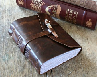 "Leather Journal - ""To see a world in a grain of sand..."" William Blake quote . handmade handbound  . dark brown (320 pgs.)"
