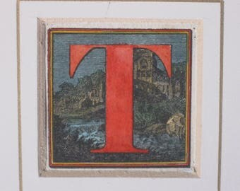 Watercolored Etching of Letter T with Castle and River Bevel Matted