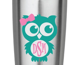 Teal and Light Pink Owl Monogram Vinyl Decal for Yeti Cups, Car, iPads, Computer or Whatever other Surface you can Find!!