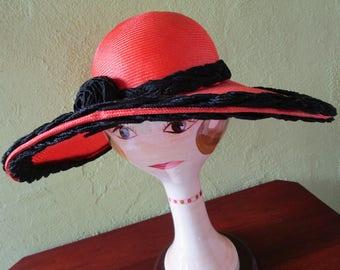 Custom Raymond Hudd Orange Straw Wide Brim Hat Sun Derby Church Easter Black Braid