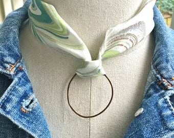 Tye dye ribbon choker,Silk ribbon circle choker, bohemian necklace,short necklace,circle pendant necklace.Tiedupmemories