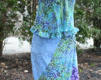 Blue purple rayon batik Bali Indonesia skirt and tank top dress asymmetric hem Santiki medium large