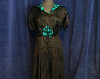 Vintage 1920s Teal and Black Harlequin Print Drop Waist Dress - Size Medium