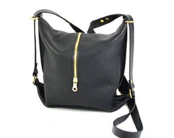 Abi - Black Leather Shoulder Bag Handmade AW17 Collaboration de Lacy X Abigail Knott