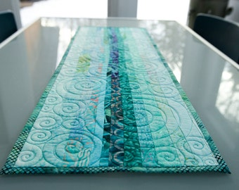 Modern Quilted Table Runner Fiber Art Wall Hanging Modern Table Decor Kitchen Decor Turquoise Quilt Center Piece Quilted Table Setting Quilt