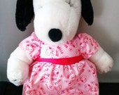 Vintage Peanuts Belle Snoopy Sister Plush 10 inch Doll with Dress 1968 United Feature Syndicate
